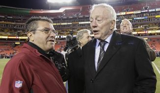 Washington Redskins owner Daniel Snyder talks with Dallas Cowboys owner Jerry Jones, right, before an NFL football game between the Redskins and the Cowboys in Landover, Md., Monday, Dec. 7, 2015. (AP Photo/Mark Tenally)