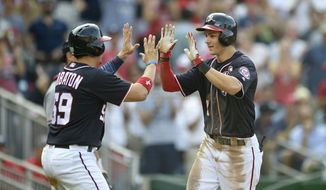 Washington Nationals' Trea Turner, right, celebrates his two-run home run with Jose Lobaton (59) during the third inning of a baseball game against the Atlanta Braves, Monday, Sept. 5, 2016, in Washington. (AP Photo/Nick Wass)