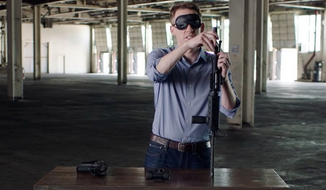 Missouri Democratic Senate candidate Jason Kander assembles a rifle while blindfolded in this campaign ad.