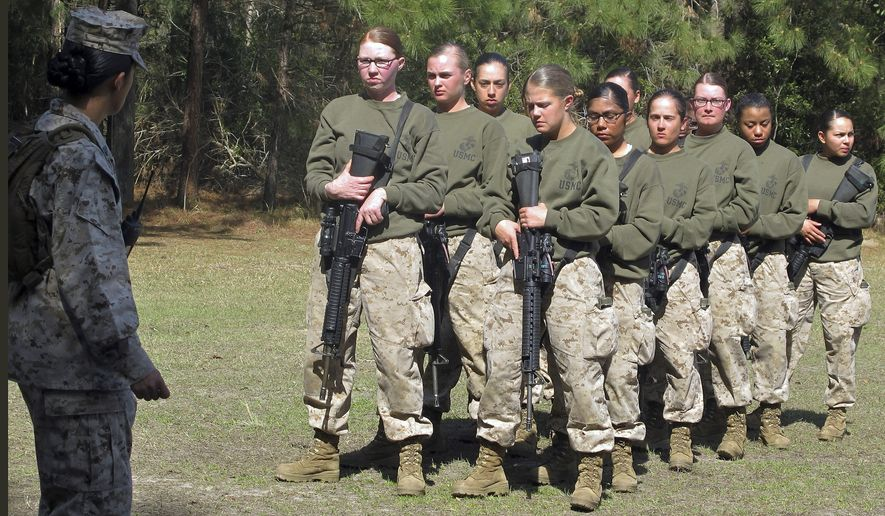 Female recruits stand at the Marine Corps Training Depot on Parris Island, S.C. (Associated Press)