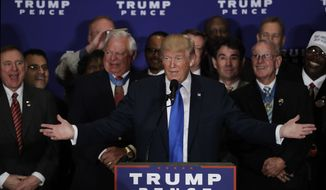 Republican presidential candidate Donald Trump speaks during a gathering with military leaders and veterans at the new Trump International Hotel in Washington, Friday, Sept. 16, 2016. (AP Photo/Manuel Balce Ceneta)