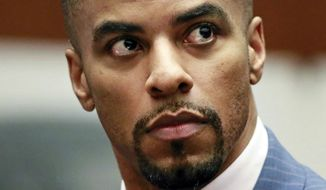 FILE - In this March 23, 2015, file photo, former NFL football player Darren Sharper appears in Los Angeles Superior Court. The inclusion of former NFL safety and convicted rapist Sharper on this year's list of Hall of Fame nominees has created a national outcry. Sharper, a five-time Pro Bowler, pleaded guilty in 2015 to drugging and raping up to 16 women in four states. (AP Photo/Nick Ut, Pool, File)