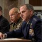 "From left: Army Gen. Mark Milley, Navy Adm. John Richardson, Marine Corps Gen. Robert Neller and Air Force Gen. David Goldfein acknowledged to the Senate Arms Services Committee that they had not discussed the readiness crisis with their commander in chief. Donald Trump said generals under President Obama have been ""reduced to rubble."" (Associated Press)"