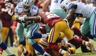 Dallas Cowboys running back Ezekiel Elliott (21) pulls away from Washington Redskins cornerback Bashaud Breeland (26) during the first half of an NFL football game in Landover, Md., Sunday, Sept. 18, 2016. (AP Photo/Alex Brandon)