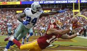 Dallas Cowboys cornerback Morris Claiborne (24) breaks up a pass intended for Washington Redskins wide receiver Josh Doctson (18) in the end zone during the second half of an NFL football game in Landover, Md., Sunday, Sept. 18, 2016. (AP Photo/Alex Brandon)