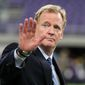 NFL Commissioner Roger Goodell waves to fans before an NFL football game between the Minnesota Vikings and the Green Bay Packers Sunday, Sept. 18, 2016, in Minneapolis. (AP Photo/Andy Clayton-King)
