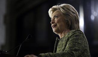 Democratic presidential candidate Hillary Clinton speaks during a campaign stop at Temple University in Philadelphia, Monday, Sept. 19, 2016. (AP Photo/Matt Rourke)
