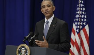 President Barack Obama speaks about the bombings in New Jersey and Manhattan and the stabbing attack in Minnesota, Monday, Sept. 19, 2016, at the Lotte New York Palace Hotel in New York. (AP Photo/Carolyn Kaster)