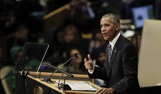 "President Barack Obama addresses the 71st session of the United Nations General Assembly, Tuesday, Sept. 20, 2016. The president warned that the forces of globalization have exposed ""deep fault lines"" across the globe, calling for a ""course correction"" to ensure that nations and their peoples don't retreat into a more sharply divided world. (AP Photo/Carolyn Kaster)"