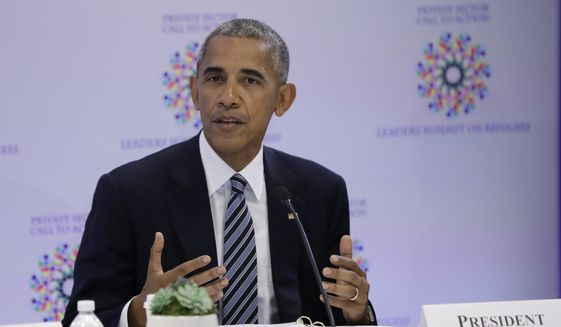 President Barack Obama speaks at a CEO roundtable on the margins of the 71st session of the United Nations General Assembly at U.N. headquarters, Tuesday, Sept. 20, 2016. (AP Photo/Carolyn Kaster) ** FILE **