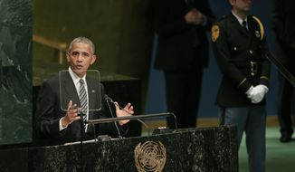 United States President Barack Obama speaks during the 71st session of the United Nations General Assembly, Tuesday, Sept. 20, 2016, at U.N. headquarters. (AP Photo/Julie Jacobson)