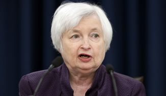Federal Reserve Board Chair Janet Yellen speaks during a news conference on the Federal Reserve's monetary policy, Wednesday, Sept. 21, 2016, in Washington. The Federal Reserve is keeping its key interest rate unchanged but signaling that it will likely raise rates before year's end.  (AP Photo/Alex Brandon)