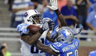 In this Sept. 18, 2016, file photo, Tennessee Titans wide receiver Andre Johnson (81), defended by Detroit Lions middle linebacker Tahir Whitehead (59), catches a 9-yard pass for a touchdown during the second half of an NFL football game, in Detroit. Andre Johnson finds himself in a new role in Tennessee, the third team in his storied career. The man with so many catches and touchdowns in Houston still is managing to come up with the big catch when needed for the Titans as they prepare to host Oakland. (AP Photo/Jose Juarez, File)