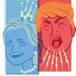 Illustration on the contrasting media coverage of Hillary and Trump by Linas Garsys/The Washington Times