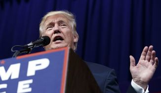 Republican presidential candidate Donald Trump speaks during a campaign rally at Sun Center Studios, Thursday, Sept. 22, 2016, in Aston, Penn. (AP Photo/ Evan Vucci)