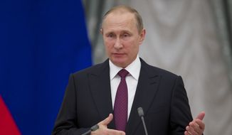 Russian President Vladimir Putin speaks during an awarding ceremony in Moscow's Kremlin, Russia, on Thursday, Sept. 22, 2016. (AP Photo/Ivan Sekretarev, pool)