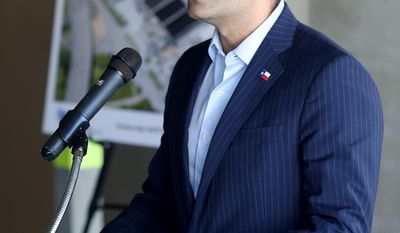 Texas Land Commissioner George P. Bush dedicates Galveston's new wastewater treatment plant Wednesday, Sept. 21, 2016.  Officials dedicated an $85 million wastewater treatment plant in Galveston as the largest Hurricane Ike recovery project since the storm hit in 2008. (Jennifer Reynolds/The Galveston County Daily News via AP)