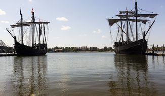Replicas of Christopher Columbus ships, the Nina, left, and the Pinta, rest at the Riverwalk Marina, Thursday, Sept. 22, 2016, Decatur, Ala. o the average person, the two wooden sailing vessels berthed at Riverwalk Marina look like they might be scaled-down versions of Columbus' famous ships that crossed the Atlantic in 1492. They're not. In fact, they're about as close as anyone can get to true replicas of the ships that helped change the course of human history. (Crystal Vanderweit/The Decatur Daily via AP)