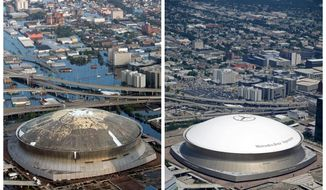 FILE - This combination of Aug. 30, 2005, left, and July 29, 2015 aerial photos shows downtown New Orleans and the Superdome flooded by Hurricane Katrina, left, and the same area a decade later. When the New Orleans Saints host rival Atlanta on Monday night, it'll mark the 10-year anniversary of the stadium's reopening, and a victory over the Falcons that symbolized a city's determination to rebuild from one of the worst natural disasters in American history. (AP Photo/David J. Phillip, left, and Gerald Herbert, File)