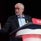 Newly re-elected opposition Labour Party leader Jeremy Corbyn speaks during the Labour women's conference in Liverpool a day ahead of the Party's annual conference, Saturday Sept. 24, 2016. (Stefan Rousseau/PA via AP)