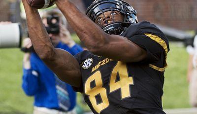 Missouri wide receiver Emanuel Hall pulls in a reception during the first quarter of an NCAA college football game against Delaware State, Saturday, Sept. 24, 2016, in Columbia, Mo. (AP Photo/L.G. Patterson)