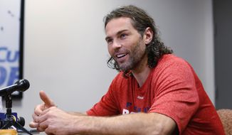 Florida Panthers forward Jaromir Jagr speaks to members of the media, Thursday, Sept. 22, 2016, in Sunrise, Fla. Players reported to 2016 Training Camp Thursday and begin first practice Friday. (AP Photo/Wilfredo Lee)