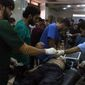 Medical supplies are running low as the number of injured from airstrikes is crowding hospitals in Aleppo, Syria. (Associated Press)