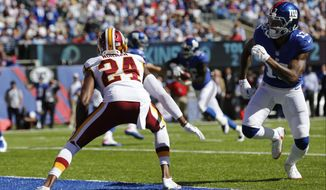 Washington Redskins cornerback Josh Norman (24) during the first half of an NFL football game Sunday, Sept. 25, 2016, in East Rutherford, N.J.  (AP Photo/Kathy Willens)