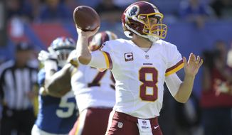 Washington Redskins quarterback Kirk Cousins (8) throws a pass during the second half of an NFL football game against the New York Giants Sunday, Sept. 25, 2016, in East Rutherford, N.J. (AP Photo/Bill Kostroun)