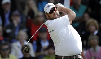 Michael Jonzon of Sweden tees off during the final round at the Porsche European Open at the Golf Resort in Bad Griesbach near Passau, Germany, Sunday, Sept. 25, 2016. (AP Photo/Matthias Schrader)