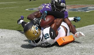 Jacksonville Jaguars wide receiver Allen Robinson (15) catches an 11-yard pass for a touchdown in front of Baltimore Ravens cornerback Shareece Wright during the second half of an NFL football game in Jacksonville, Fla., Sunday, Sept. 25, 2016. (AP Photo/Stephen B. Morton)