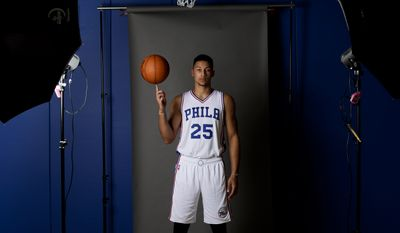 Philadelphia 76ers' Ben Simmons  poses for a photograph during media day at the NBA basketball team's practice facility, Monday, Sept. 26, 2016, in Camden, N.J. (AP Photo/Matt Slocum)