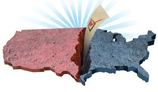 Illustration on the potential political rift presented by the upcoming election by Linas Garsys/The Washington Times