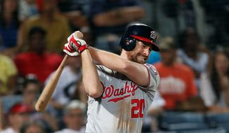 Washington Nationals second baseman Daniel Murphy has not played a game since Sept. 21 and has only pinch hit since Sept. 17. The Nationals are keeping him from playing in a game to make sure he's ready for the postseason so he doesn't aggravate his strained buttock. (Associated Press Photographs)