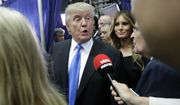 Republican presidential candidate Donald Trump speaks with the media after the presidential debate between Trump and Democratic presidential candidate Hillary Clinton at Hofstra University, Monday, Sept. 26, 2016, in Hempstead, N.Y. (AP Photo/John Locher)