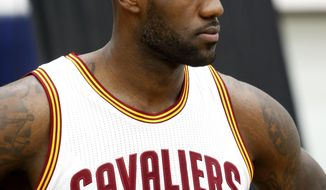 Cleveland Cavaliers forward LeBron James is photographed during the NBA basketball team's media day, Monday, Sept. 26, 2016, in Independence, Ohio. (AP Photo/Ron Schwane)