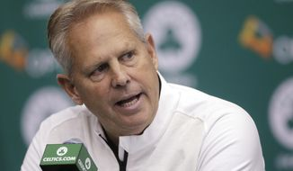 Boston Celtics general manager Danny Ainge takes questions from reporters during NBA basketball media day at the team's training facility Monday, Sept. 26, 2016, in Waltham, Mass. (AP Photo/Steven Senne)