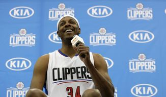 Los Angeles Clippers' Paul Pierce laughs while talking to reporters during the team's NBA basketball media day, Monday, Sept. 26, 2016, in Playa Vista, Calif. (AP Photo/Ryan Kang)