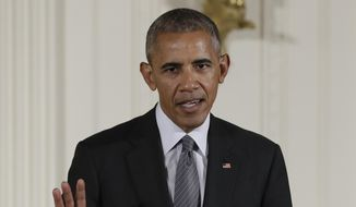 In this Sept. 22, 2016, file photo, President Barack Obama speaks in the East Room of the White House in Washington. Congress is poised to override President Barack Obama's veto of a bill that would allow families of Sept. 11 victims to sue Saudi Arabia for the kingdom's alleged backing of the terrorists who carried out the attacks that killed nearly 3,000 people. (AP Photo/Carolyn Kaster, File)