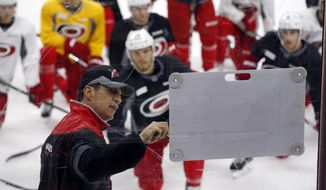 Carolina Hurricanes assistant coach Rod Brind'Amour diagrams a drill at NHL hockey training camp at PNC Arena in Raleigh, N.C.. Friday,  Sept. 23, 2016. (Chris Seward/The News & Observer via AP)