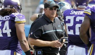 FILE - In this Sept. 25, 2016, file photo, Carolina Panthers head coach Ron Rivera, center, walks through Minnesota Vikings players in the first half of an NFL football game in Charlotte, N.C. Rivera said Monday that two things became apparent to him after looking at tape of the Panthers' 22-10 loss to the Vikings. (AP Photo/Mike McCarn, File)