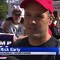 Dozens of locals showed up Saturday at the Haverhill residence of Rick Early, who is fighting a city ordinance limiting the amount of Donald Trump signs on his lawn. (CBS Boston)