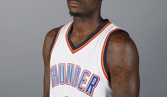 Oklahoma City Thunder guard Anthony Morrow poses for a photo during the 2016-2017 Oklahoma City Thunder Media Day in Oklahoma City, Friday, Sept. 23, 2016. Morrow, who is from Charlotte, was shaken by the shooting of Keith Scott in his hometown. (AP Photo/Sue Ogrocki)