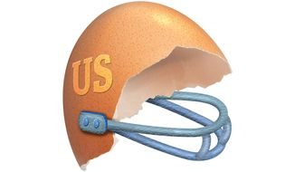 Egg Shell Helmet Illustration by Greg Groesch/The Washington Times