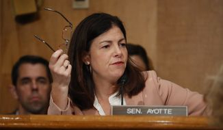 Senate Homeland Security and Governmental Affairs Committee member Sen. Kelly Ayotte, R-N.H. asks questions on Capitol Hill in Washington, Tuesday, Sept. 27, 2016, during the committee's hearing on on terror threats. (AP Photo/Pablo Martinez Monsivais) ** FILE **