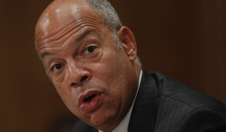 Homeland Secretary Jeh Johnson, depicted here testifying on Capitol Hill on Sept. 27, 2016, has suspended the visas of Gambian government officials, retaliation for the west African nation's refusal to accept deported Gambians who were in the United States illegally. (AP Photo/Pablo Martinez Monsivais). The U.S. State Department announced the decision on Oct. 1, 2016. **FILE**
