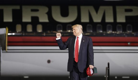 Donald Trump arrives at a rally Tuesday in Melbourne, Florida. (Associated Press)
