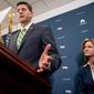 House Speaker Paul Ryan of Wis., left, accompanied by Rep. Lynn Jenkins, R-Kan., right, speaks at a news conference following a closed-door meeting of House Republicans on Capitol Hill in Washington, Tuesday, Sept. 27, 2016. (AP Photo/Andrew Harnik)