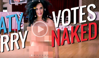 "Screen capture from FunnyorDie.com promoting Katy Perry's Sept. 27 ""Rock the Vote"" video."