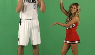 Dallas Mavericks center Andrew Bogut (6) films a promotional spot during an NBA basketball media day Monday, Sept. 26, 2016, in Dallas. (AP Photo/LM Otero)